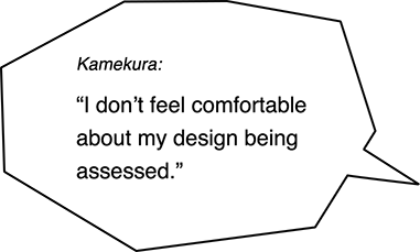 Kamekura: I don't feel comfortable about my design being assessed.