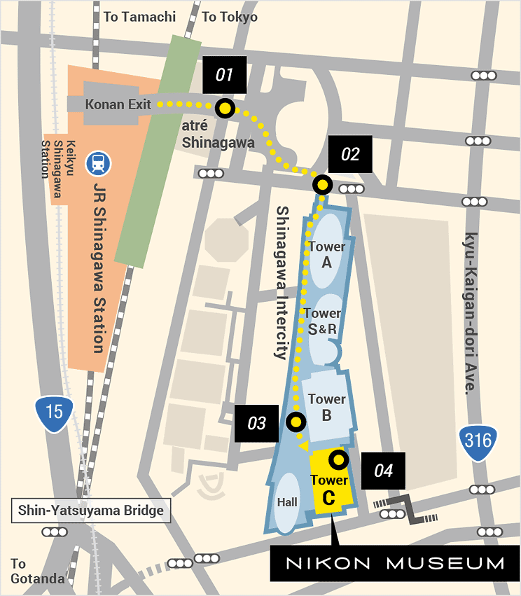 Map of Directions to the Nikon Museum from JR Shinagawa Station