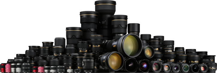 to super telephoto lenses, zoom lenses, Micro lenses, and PC-E lenses