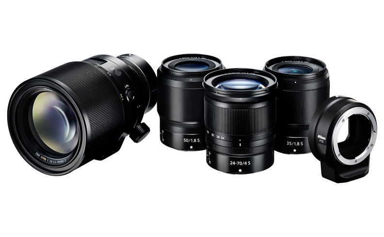 the NIKKOR Z 24-70mm f/4 S, NIKKOR Z 35mm f/1.8 S, NIKKOR Z 50mm f/1.8 S, and the Mount Adapter FTZ, and develops the NIKKOR Z 58mm f/0.95 S Noct